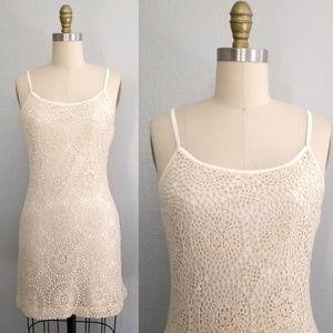 Vintage crochet spaghetti strap mini dress
